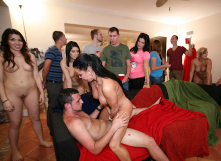 Christy Mack and a bunch of hot pornstars in a college sex orgy